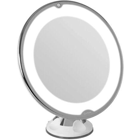 Miroir Grossissant 10x Lumineux 10 LED Ventouse Maquillage Epilation Portable