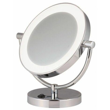 Miroir Grossissant éclairant à poser X5 - Finition Chic Chromée- Diamètre: 17,5 cm
