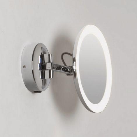 Miroir Grossissant Lumineux Mural Mascali Rond Led Chrome Chrome