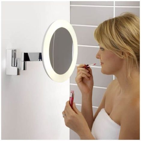 Miroir Grossissant Lumineux Mural Niimi Round Led Chrome