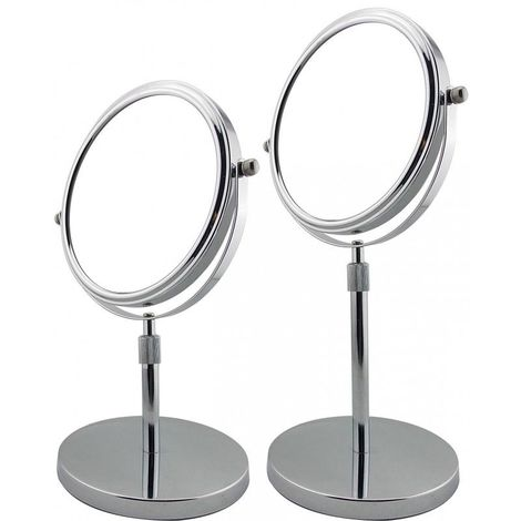 Miroir Grossissant Télescopique à poser (X5) - Chrome - Diamètre: 17 cm - Chrome
