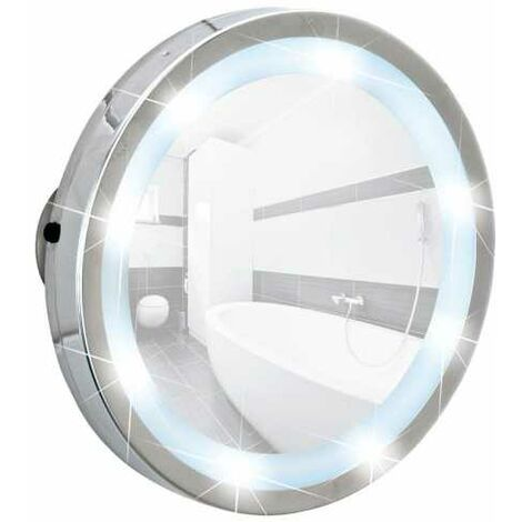 Miroir grossissant ventouse x3, Miroir maquillage LED Ø 15 cm, Mosso WENKO