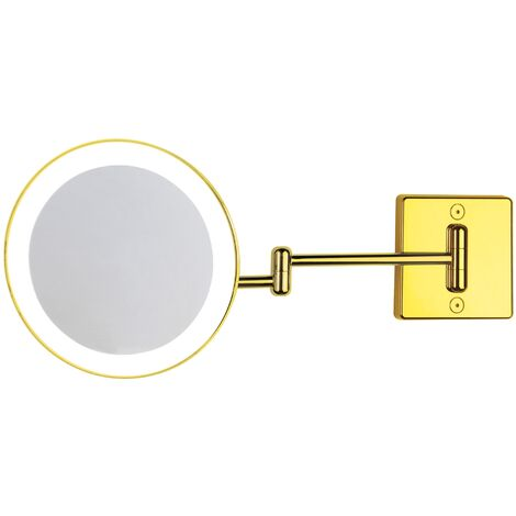 Miroir grossissant x2 à LED alimentation externe double bras or - Koh-I-Noor C362G2