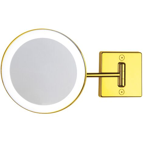 Miroir grossissant x2 à LED alimentation externe simple bras or - Koh-I-Noor C361G2