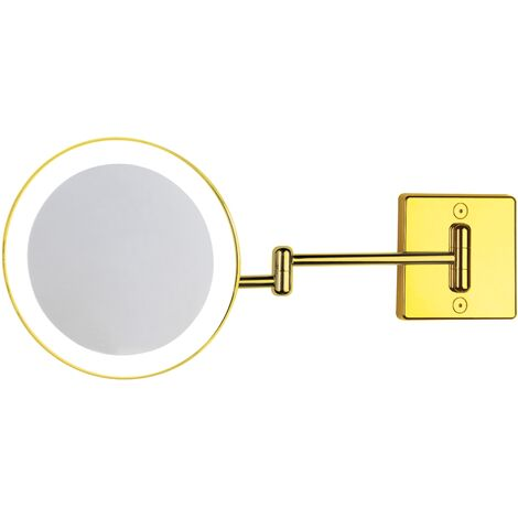 Miroir grossissant x3 à LED alimentation direct IP23 Discolo double bras or - Koh-I-Noor C352G3