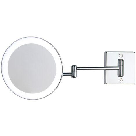 Miroir grossissant x3 à LED alimentation externe double bras argent - Koh-I-Noor C362KK3