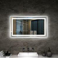 TONFFI Miroir LED 20W Lampe de Miroir Blanc Neutre 4000K Éclairage ...