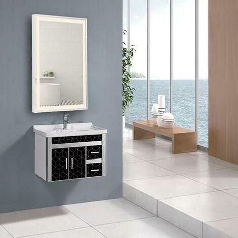 Miroir LED 48W Rectangulaire 60x80cm avec Interrupteur Tactile Cadre Blanc pour Salle de Bain