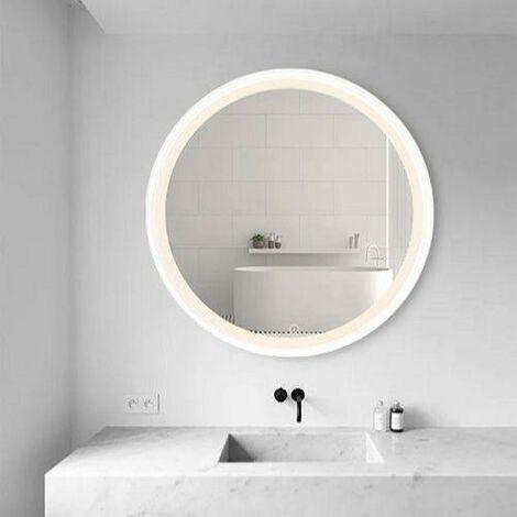 Miroir LED Rond 32W 58cm avec Interrupteur Tactile Cadre Blanc pour Salle de Bain