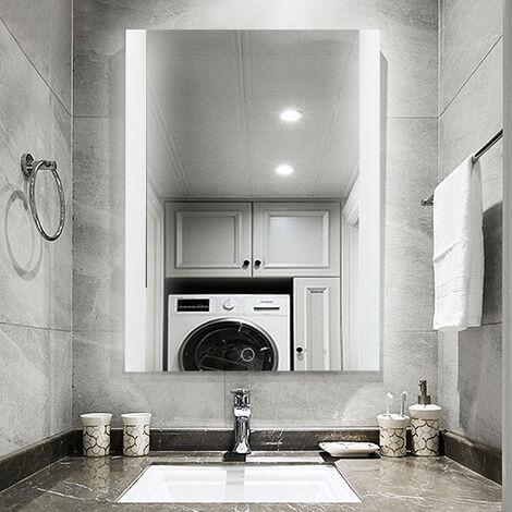 Miroir LED Salle de Bain Miroir 50*70cm Anti-brouillard avec Eclairage