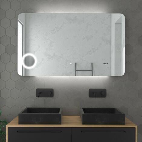 miroir salle de bain led auto clairant 120x70cm. Black Bedroom Furniture Sets. Home Design Ideas