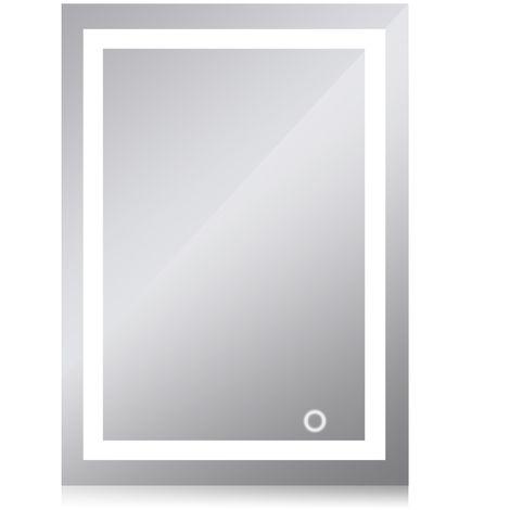 Miroir lumineux à LED avec interrupteur d'éclairage pour salle de bain 50*70cm