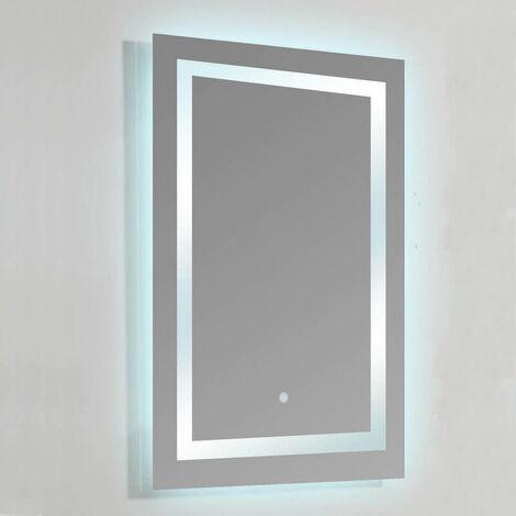 Miroir lumineux de salle de bain Rectangle - Rétro-éclairage LED - 60x80 cm - Connec't 60