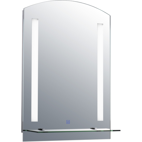 Miroir lumineux LED 24 W interrupteur tactile étagère intégrée 50L x 4l x 70H cm