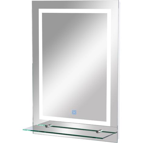 Miroir lumineux LED 38 W interrupteur tactile étagère intégrée 50L x 4l x 70H cm