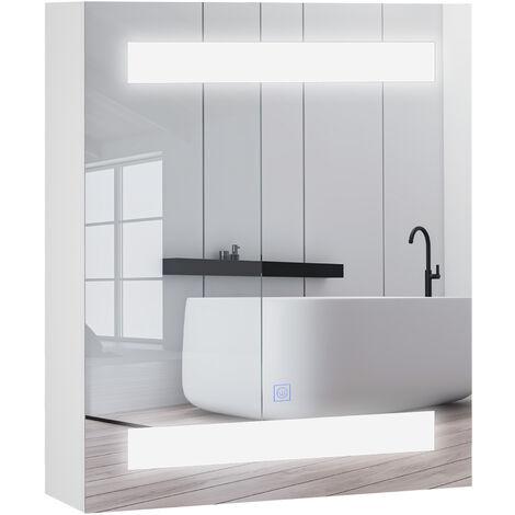 Miroir lumineux LED armoire murale design de salle de bain 2 en 1 dim. 50L x 15l x 60H cm MDF blanc