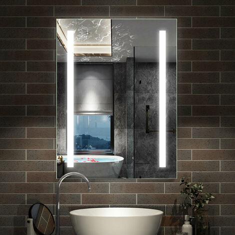 Miroir lumineux LED 80x60cm miroir de salle de bain anti-buée
