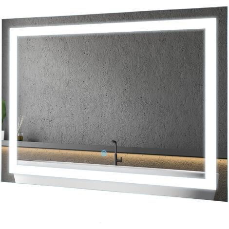 Miroir lumineux LED salle de bain 38 W interrupteur tactile 60L x 4l x 80H cm - Blanc