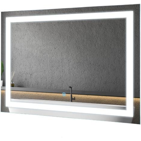Miroir lumineux LED salle de bain 38 W interrupteur tactile 80L x 4l x 60H cm
