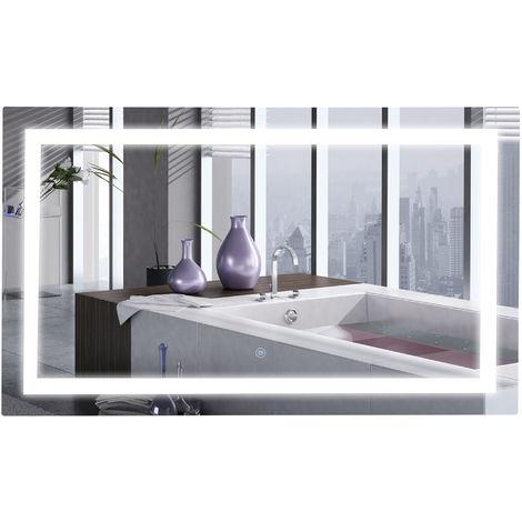 Miroir lumineux LED salle de bain miroir rectangulaire 46 W fonction antibuée interrupteur tactile 100L x 60H cm