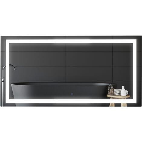 Miroir lumineux LED salle de bain miroir rectangulaire 53 W fonction antibuée interrupteur tactile 120L x 60l cm