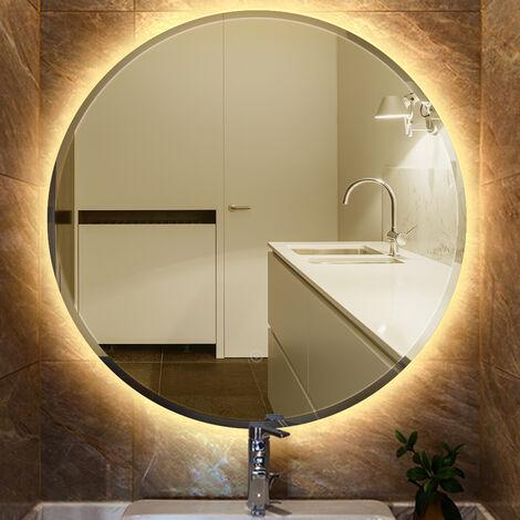 Miroir lumineux pour salle de bain à LED avec éclairage tactile anti-buée blanc chaud round Ø 60 cm