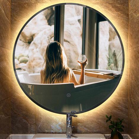 Miroir lumineux pour salle de bain à LED avec éclairage tactile anti-buée blanc chaud round 70*70*4.5cm