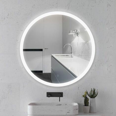 Miroir lumineux pour salle de bain à LED avec éclairage tactile Blanc froid round Ø 60 cm