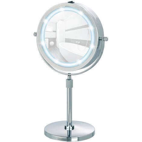 Miroir maquillage LED, miroir grossissant LED x 50, hauteur réglable sur pied, Ø 22 cm, Lumi WENKO