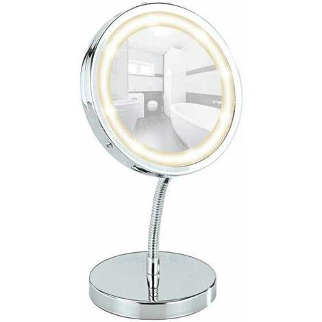 Miroir maquillage LED, miroir grossissant LED x30, à poser, Ø 15 cm, Brolo WENKO