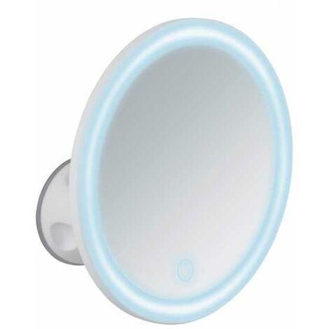 Miroir maquillage LED, miroir grossissant ventouse x5, Ø 18.5 cm, Isola