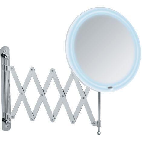 Miroir maquillage LED mural avec bras télescopique, miroir grossissant x50, Ø 20 cm, Barona