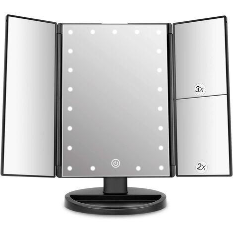 Miroir Maquillage Lumière avec 21 LED, Miroir Grossissant Triple 2X/3X/1X Réglable Écran Tactile Rotation 180° Miroir de Table pour Cosmétique et Usage Quotidien