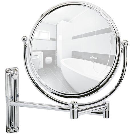 Miroir maquillage mural, hauteur réglable, miroir grossissant x30, Ø 20 cm, Deluxe WENKO