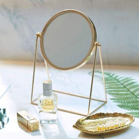 Miroir Maquillage Simple Face Miroir de Table en Métal Miroir Vintage 360 Degrés de Rotation Miroir Rond Miroir Rotatif Idéal Pour Salle de Bain Rasage Chambre Coiffeuse - Or Champagne