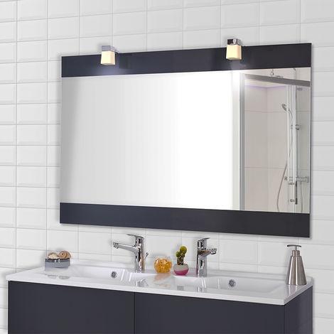 Miroir MIROSA gris anthracite avec appliques - 140x80 cm