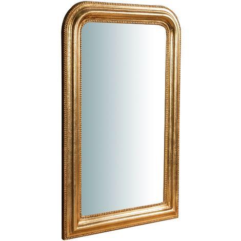 Miroir Mural à accrocher en bois finition feuille or vieilli aux dimensions L43XPR3,5XH69 cm Made in Italy