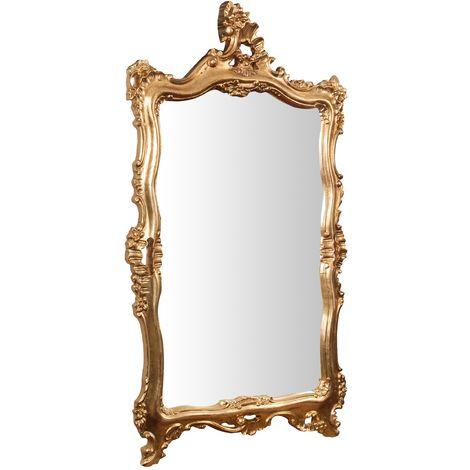 Miroir Mural à accrocher en bois finition feuille or vieilli aux dimensions L66xPR7xH118 cm Made in Italy