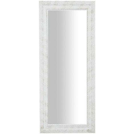 Miroir Mural à accrocher suspendu vertical/horizontal L35xPR2xH82 cm finition blanc vieilli