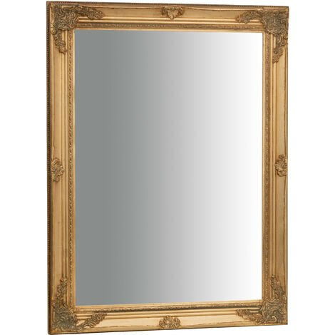 Miroir Mural à accrocher suspendu vertical/horizontal L62xPR3xH82 cm finition or antique