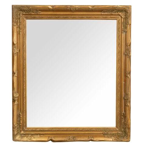 Miroir Mural à accrocher suspendu vertical/horizontal L64xPR4xH74 cm finition or antique