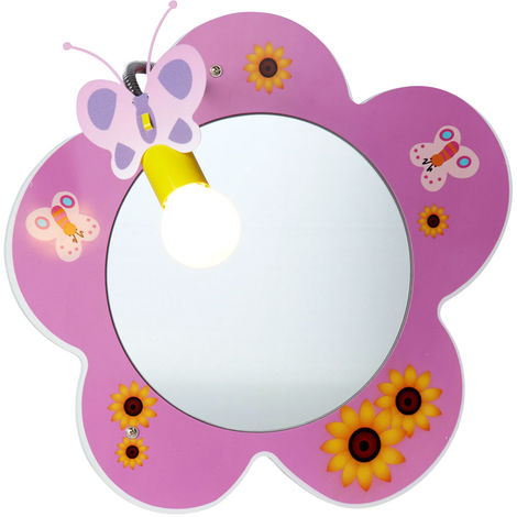 Miroir mural à LED, chambre d'enfant, design floral, mobile, rose