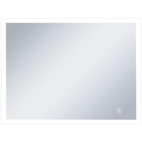 Miroir mural à LED de salle de bain et capteur tactile 80x60 cm