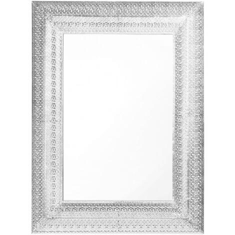 Miroir mural argenté en forme rectangulaire 70x90 cm
