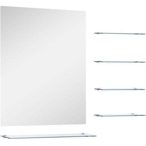 Miroir mural avec 5 étagères Argenté 50 x 60 cm