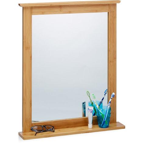Miroir mural avec cadre en bambou pour salle de bain salon surface ...
