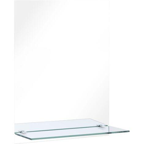 Miroir mural avec étagère 50x70 cm Verre trempé