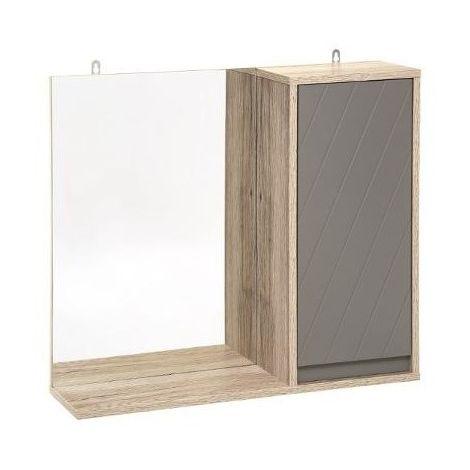 Miroir mural avec rangements - Elda - 57 x 14.5 x 49 cm - Gris