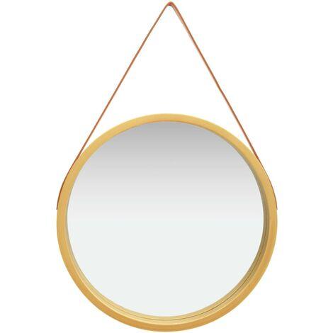 """main image of """"Miroir mural avec sangle 60 cm Doré"""""""