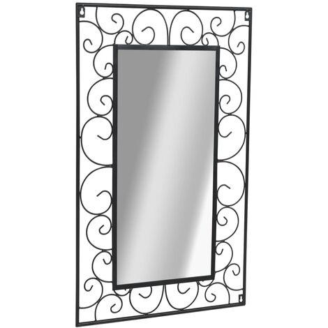 Miroir mural de jardin rectangulaire 50 x 80 cm Noir